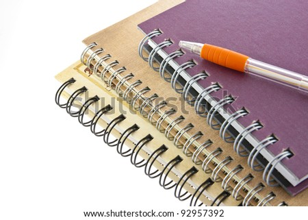 stack of ring binder book or notebook and pen isolated - stock photo