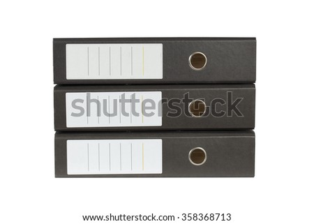 Stack of ring binders (archive (office) folders). Isolation on a white background. Clipping path. - stock photo