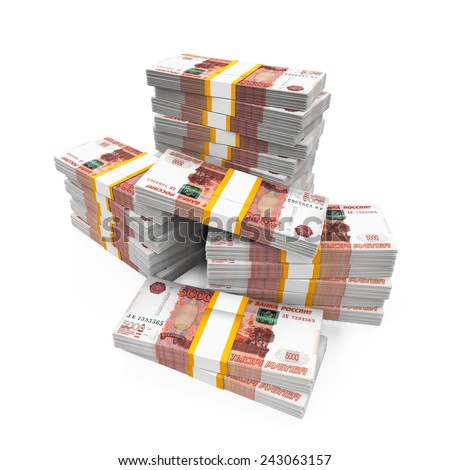 Stack of Russian Ruble - stock photo
