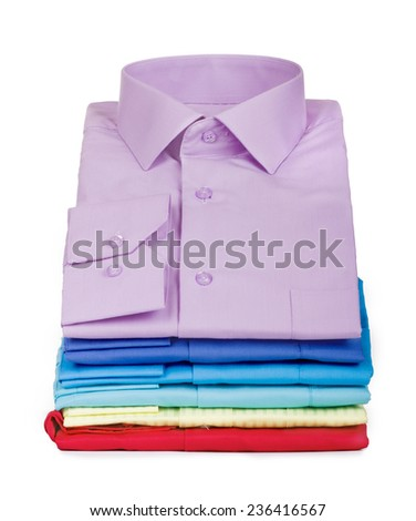 stack of shirts isolated on a white background - stock photo