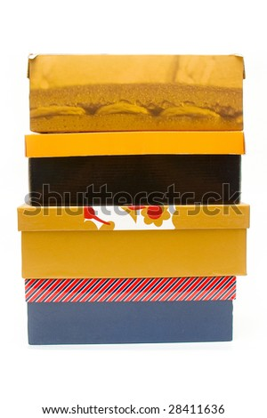 Stack of shoe boxes - stock photo