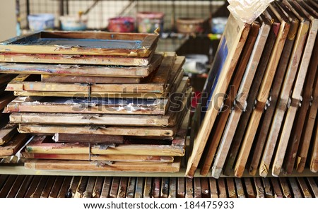 Stack of silk screen frame - stock photo