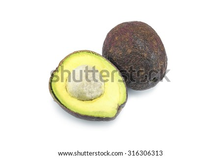 Stack of sliced Hass avocados isolated on white. - stock photo