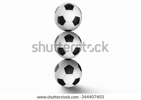 Stack of Soccer balls against a white background