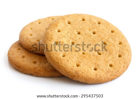 Stack of sweetmeal digestive biscuits isolated on white. - stock photo