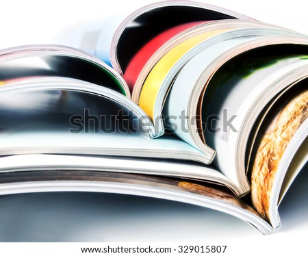 stack of the colorful magazines - stock photo