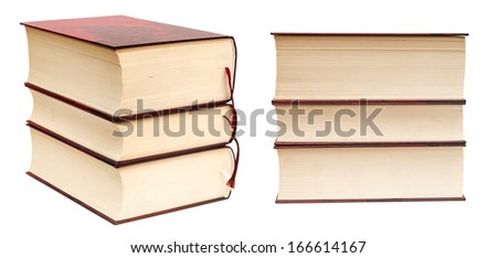 Stack of thick books isolated on white background - stock photo