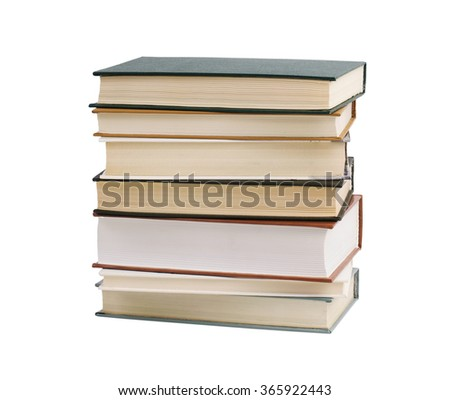 Stack of thick books on a white background - stock photo