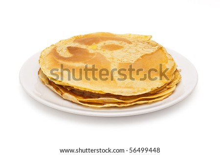 stack of thin pancakes - stock photo