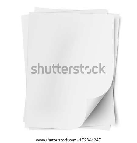 Stack of three empty white sheets of A4 paper with one deflected corner isolated. Raster version illustration. - stock photo