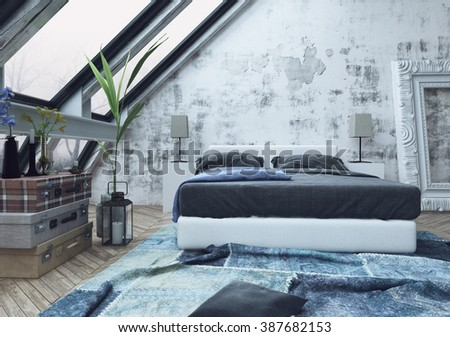 Stack of three garment boxes and potted plant on floor in bedroom with crumped blue carpet and unfinished white walls. 3d Rendering. - stock photo