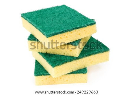 Stack of three scouring sponges over white background  - stock photo