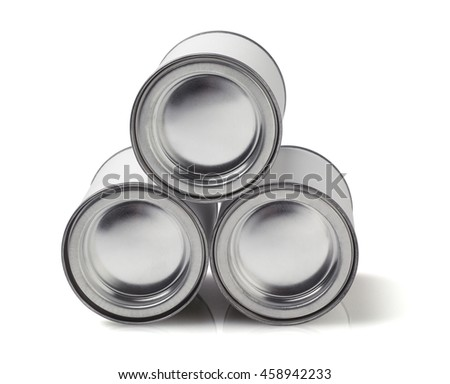 Stack of Tin Cans Lying on White Background - stock photo