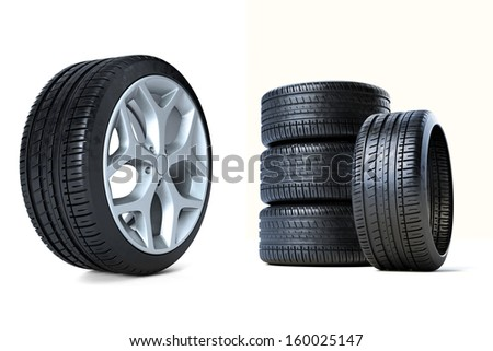 Stack of Tires 3D - stock photo