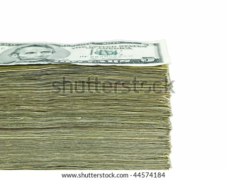 Stack of United States currency background - five dollar bills - stock photo