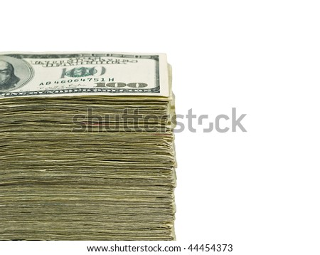 Stack of United States currency background - hundred dollar bills - stock photo