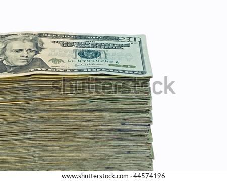 Stack of United States currency background - twenty dollar bills - stock photo