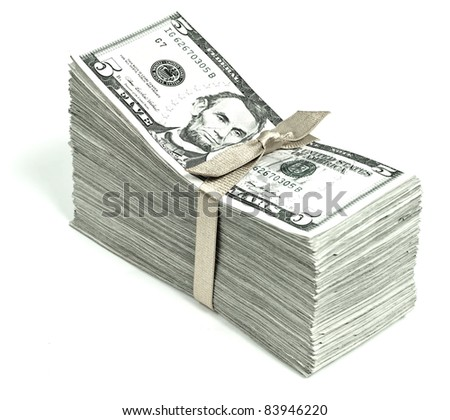Stack of United States Currency Tied in a Ribbon - Fives - stock photo