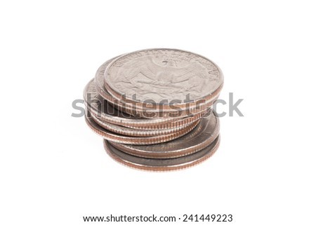 Stack of US coins isolated on white background - stock photo