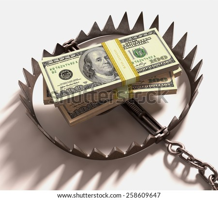 Stack of US dollars into a trap. Clipping path included. - stock photo