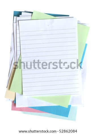 stack of various piece of paper - stock photo