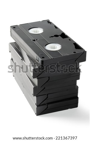 Stack of VHS Cassetes isolated on white background - stock photo