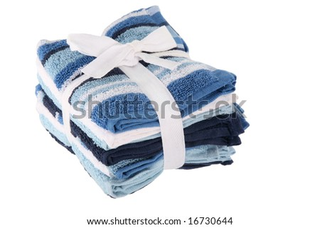 Stack of washcloths isolated on white background - stock photo