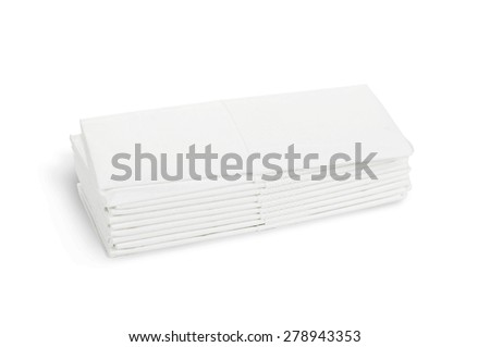 Stack of white l tissue paper on white - path included - stock photo
