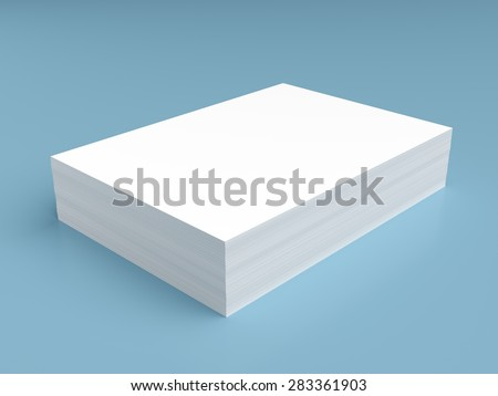 Stack of white paper on blue background - stock photo