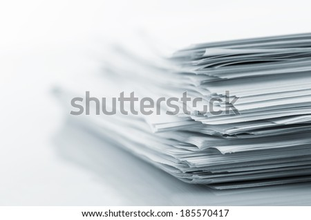 Stack of white papers - stock photo