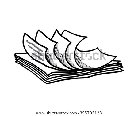 stack of white papers, hand drawn style, illustration - stock photo