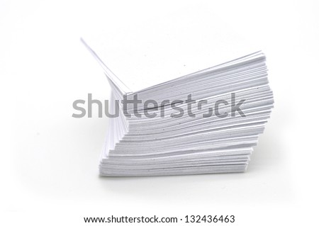 stack of white papers isolated on white background - stock photo