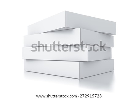 Stack of white square boxes. High resolution 3D rendered illustration. - stock photo