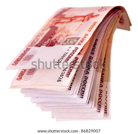 Stack of with  money (Russian rouble). Isolated. - stock photo
