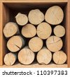Stack of wood ready for the fireplace in a square box - stock photo