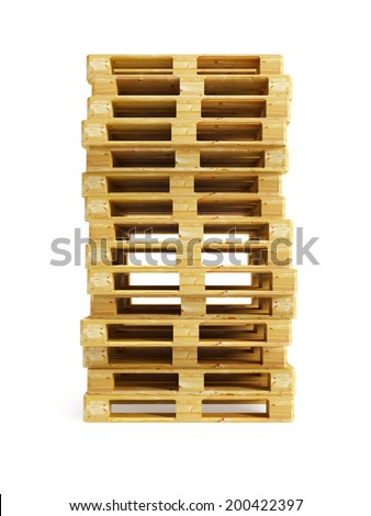stack of wooden pallets, isolated on white - stock photo