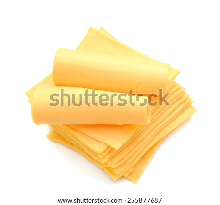 stack of yellow cheese on white background  - stock photo