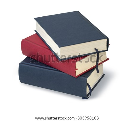 stack ofnew books isolated on white with clipping path - stock photo