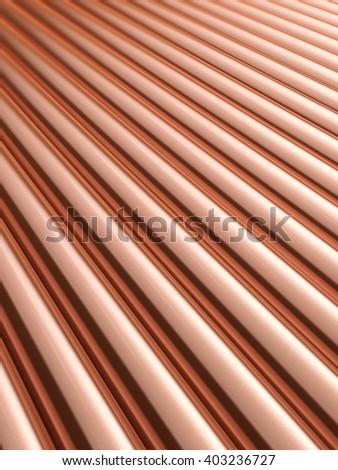 Stack stainless metal shiny copper pipes. 3D illustration. - stock photo