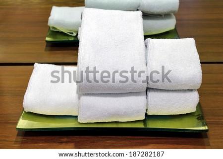 Stack towel in spa. - stock photo