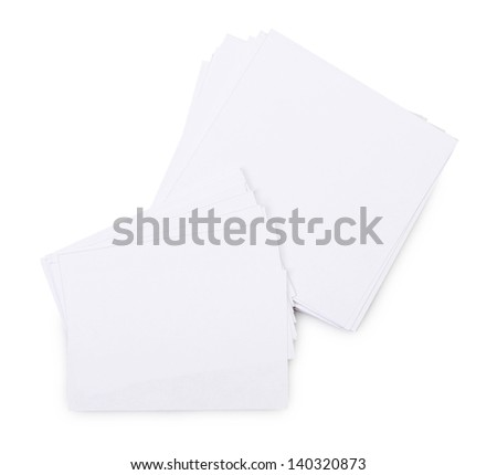 Stack white paper isolated on a white background - stock photo