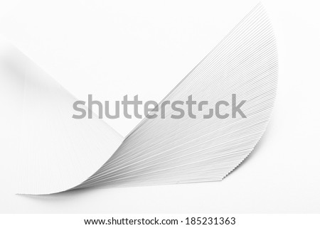 Stack white paper isolated on white  - stock photo
