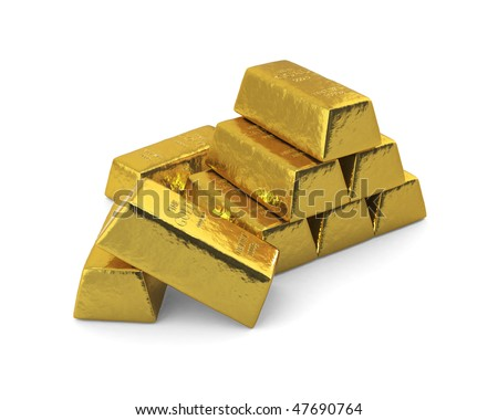 Stacked bars of gold in front of a white background. - stock photo