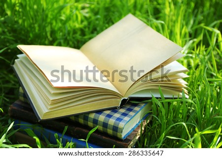 Stacked books in grass, outside - stock photo