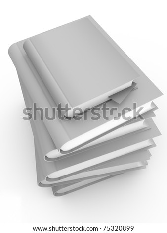 Stacked books in white. Cover is clean for your own text - stock photo