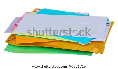 stacked colorful mail isolated on white background - stock photo