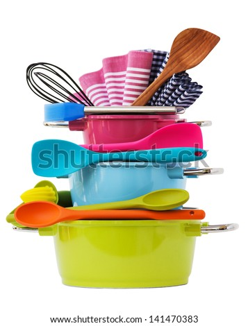 stacked cooking equipment Multi Colored, isolated on white - stock photo