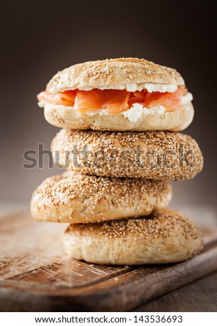 stacked fresh bagels - stock photo