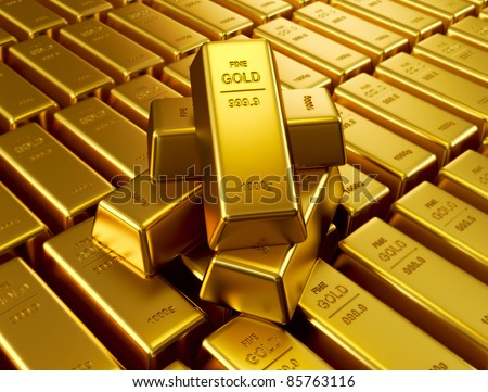 Stacked gold bars - stock photo