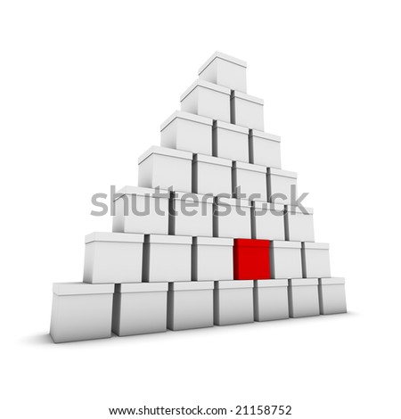 stacked gray boxes, one red - stock photo